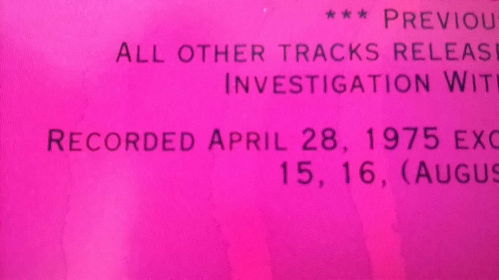 "This is from the liner notes to the ""God Says..."" CD stating the April 28th recording date..."